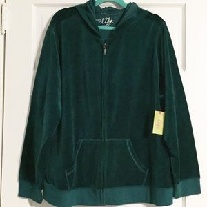 Made for Life Emerald Green 3X NWT Velour Hoodie